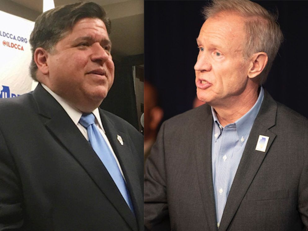 Democrat J.B. Pritzker, left, addresses reporters at the Illinois State Fair. (AP File Photo/John O'Connor); Gov. Bruce Rauner, right, sat a bill signing at the Thompson Center. File photo.  Colin Boyle/Sun-Times