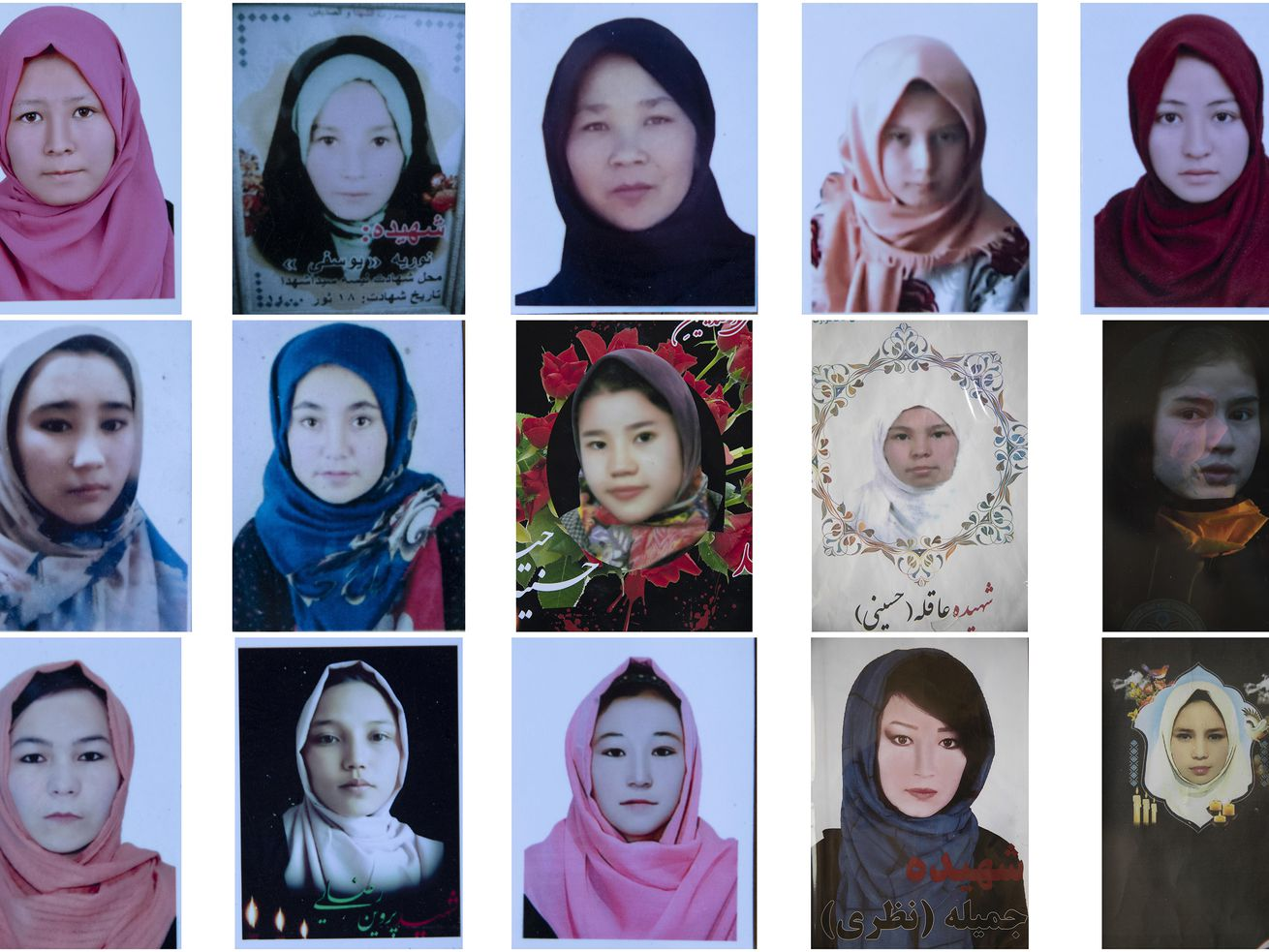 This combination photo shows portraits of Afghan Hazara school girls who were among nearly 100 people killed in bombing attacks outside their school on May 8, 2021.