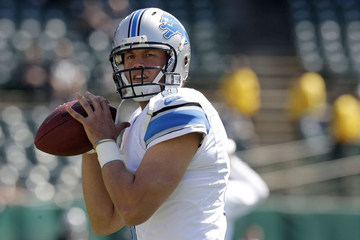 August 25, 2012; Oakland, CA, USA; Detroit Lions quarterback Matthew Stafford (9) prepares to throw a pass during warmups before the start of the game against the Oakland Raiders at O.co Coliseum. Mandatory Credit: Cary Edmondson-US PRESSWIRE