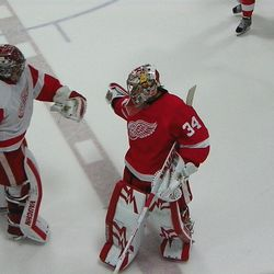 Jared Coreau and Petr Mrazek after the Red & White shootout.