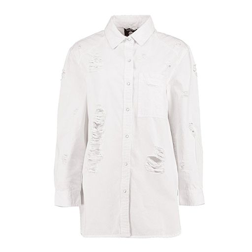 Boohoo white distressed denim shirt