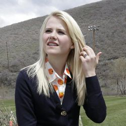 FILE - In this May 7, 2013, file photo, Elizabeth Smart talks with a reporter before an interview in Park City, Utah.