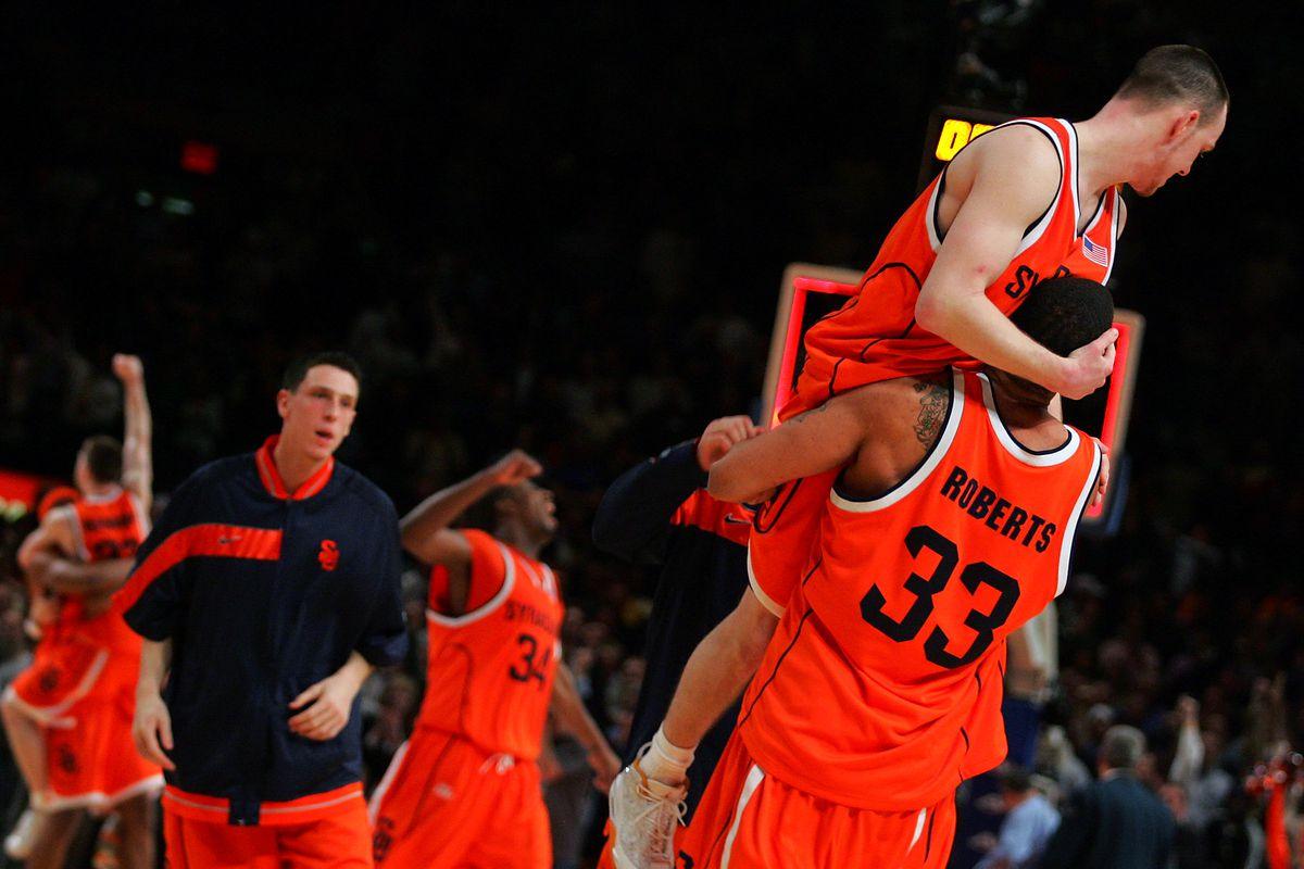 Syracuse Orange's Terrence Roberts picks up Gerry McNamara a