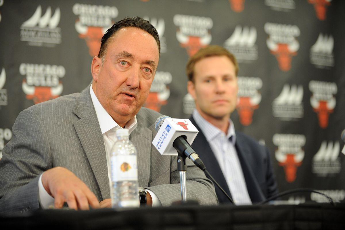Chicago Bulls General Manager Gar Forman responds to a question from the media while new Head Coach Fred Hoiberg listens during a press conference on June 2, 2015 at the Advocate Center in Chicago, Illinois.
