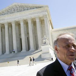 Rep. Steve King, R-Iowa speaks with reporters in front of the Supreme Court in Washington, Tuesday, April 28, 2015. The Supreme Court heard historic arguments in cases that could make same-sex marriage the law of the land.