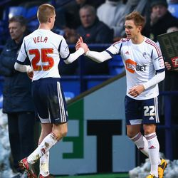 BOLTON, ENGLAND - JANUARY 26: Stuart Holden of Bolton Wanderers come on for team mate Joshua Vela during the FA Cup with Budweiser Fourth Round match between Bolton Wanderers and Everton at the Reebok Stadium on January 26, 2013 in Bolton, England. (Photo