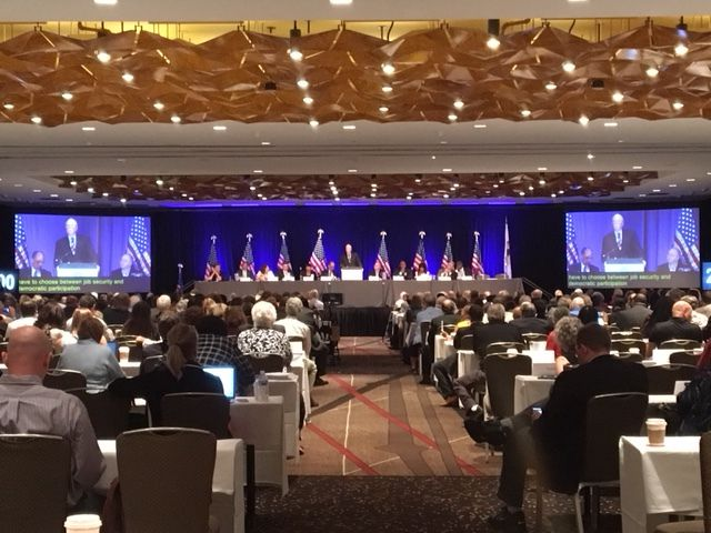 DNC meets in a Saturday session at the Hyatt Regency Chicago to debate superdelegate rules and other party business. | Lynn Sweet/Sun-Times