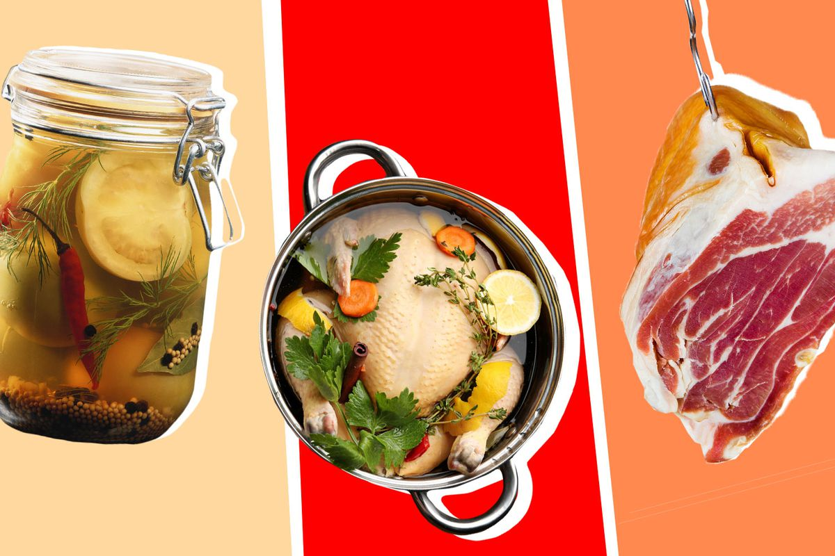 A jar of pickled vegetables, a chicken in a pot to brine, and a hanging piece of meat