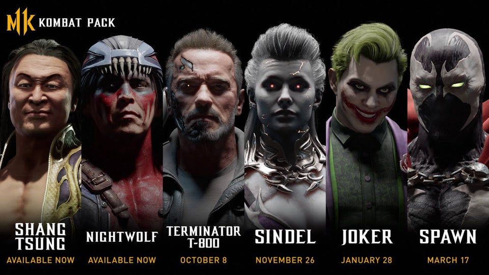 screenshot of leaked thumbnail image showing the characters and release dates for the Kombat Pack roster in Mortal Kombat 11