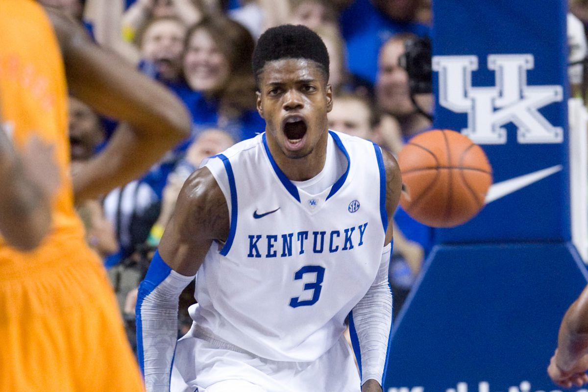 Here Nerlens Noel scares opponents out of the lane by screaming at them.