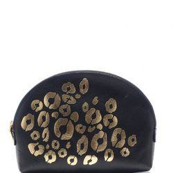 Cheetah-print leather make-up pouch, $40 (was $75)