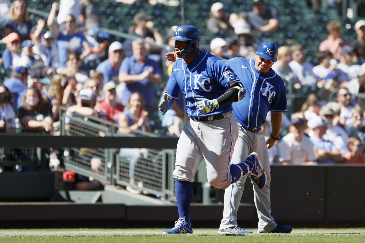 Salvador Perez rounds the bases after hitting a two-run home run