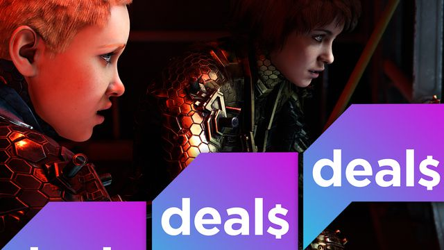 The Polygon Deals logo over a screenshot from Wolfenstein: youngblood