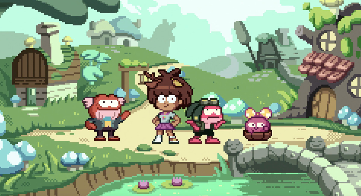 the cast of amphibia reimagined as 8-bit characteres