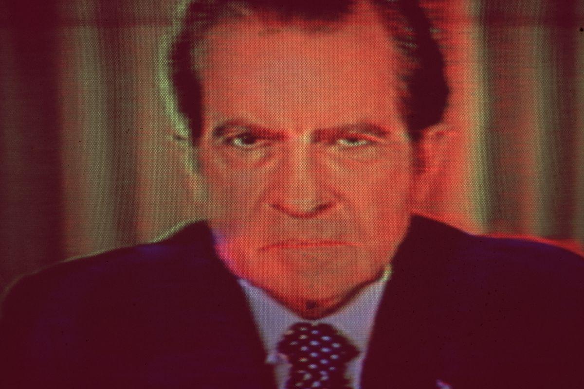 Nixon stares into the camera on a 1978 broadcast.