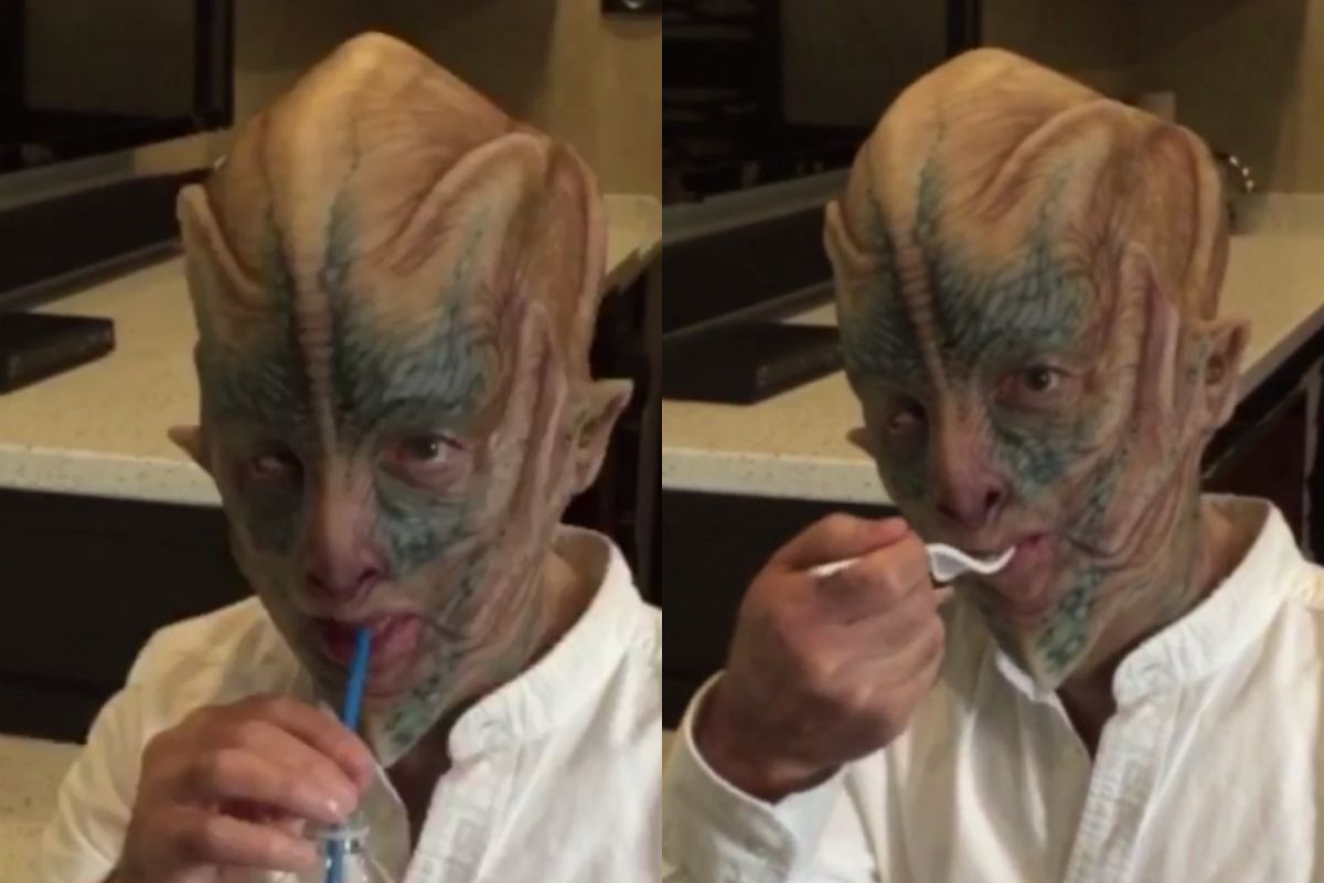 Watch Amazon S Jeff Bezos Try To Eat And Drink While In Costume As A