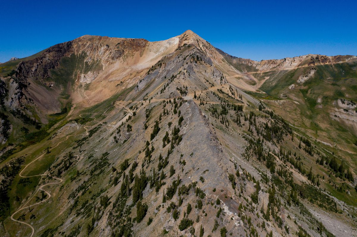 Mary Ellen Gulch, left, and Mineral Basin, right, are seen on either side of a ridge near the top of American Fork Canyon on Saturday, Aug. 15, 2020. Snowbird Ski Resort operates lifts in Mineral Basin and has planned to expand skiing into Mary Ellen Gulch.