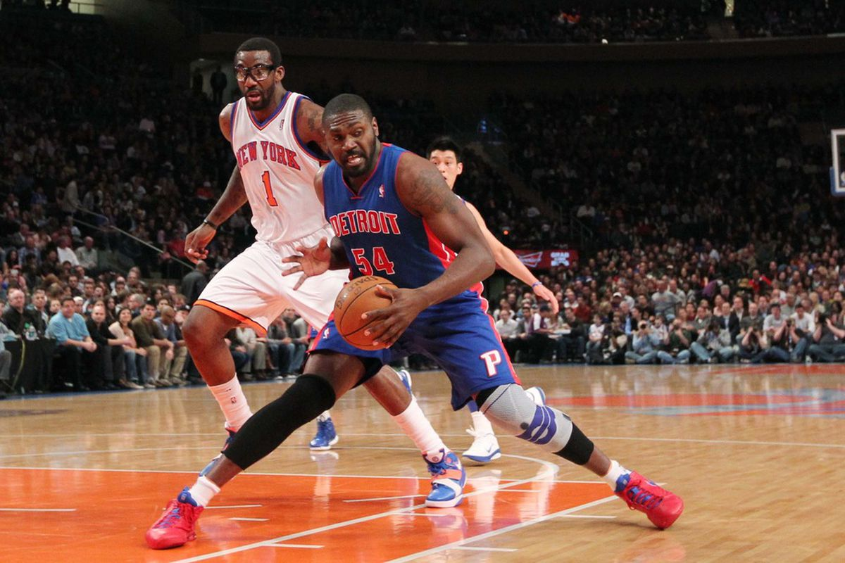 Mar 24, 2012; New York, NY, USA;  Detroit Pistons forward/center Jason Maxiell (54) looks to pass during the first quarter against the New York Knicks at Madison Square Garden.  Mandatory Credit: Anthony Gruppuso-US PRESSWIRE