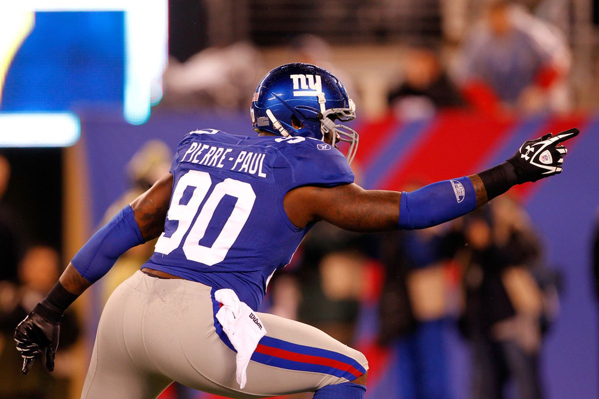 <strong>Jason Pierre-Paul </strong>received the highest 2011 grade of any New York Giant in the Pro Football Focus scoring system.  (Photo by Rich Schultz/Getty Images)