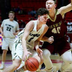 Olympus' Jeremy Dowdell drives into Viewmont's 40 Spencer Gasser during the 5A quarterfinals at the Huntsman Center in Salt Lake City on Wednesday, Feb. 28, 2018.