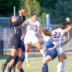 The Syracuse Orange take on the UConn Huskies in a women's college soccer game at Morrone Stadium in Storrs, CT on August 20, 2018.