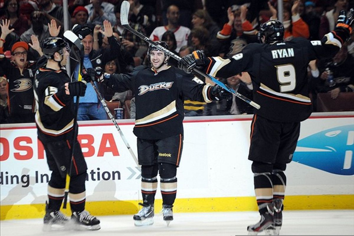 Mar 14, 2012; Anaheim, CA, USA; Anaheim Ducks right wing Kyle Palmieri (51) celebrates with his team after he scores a goal against the Detroit Red Wings during the second period at the Honda Center. Mandatory Credit: Kelvin Kuo-US PRESSWIRE
