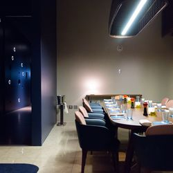 The private dining room with the constellation light fixture.
