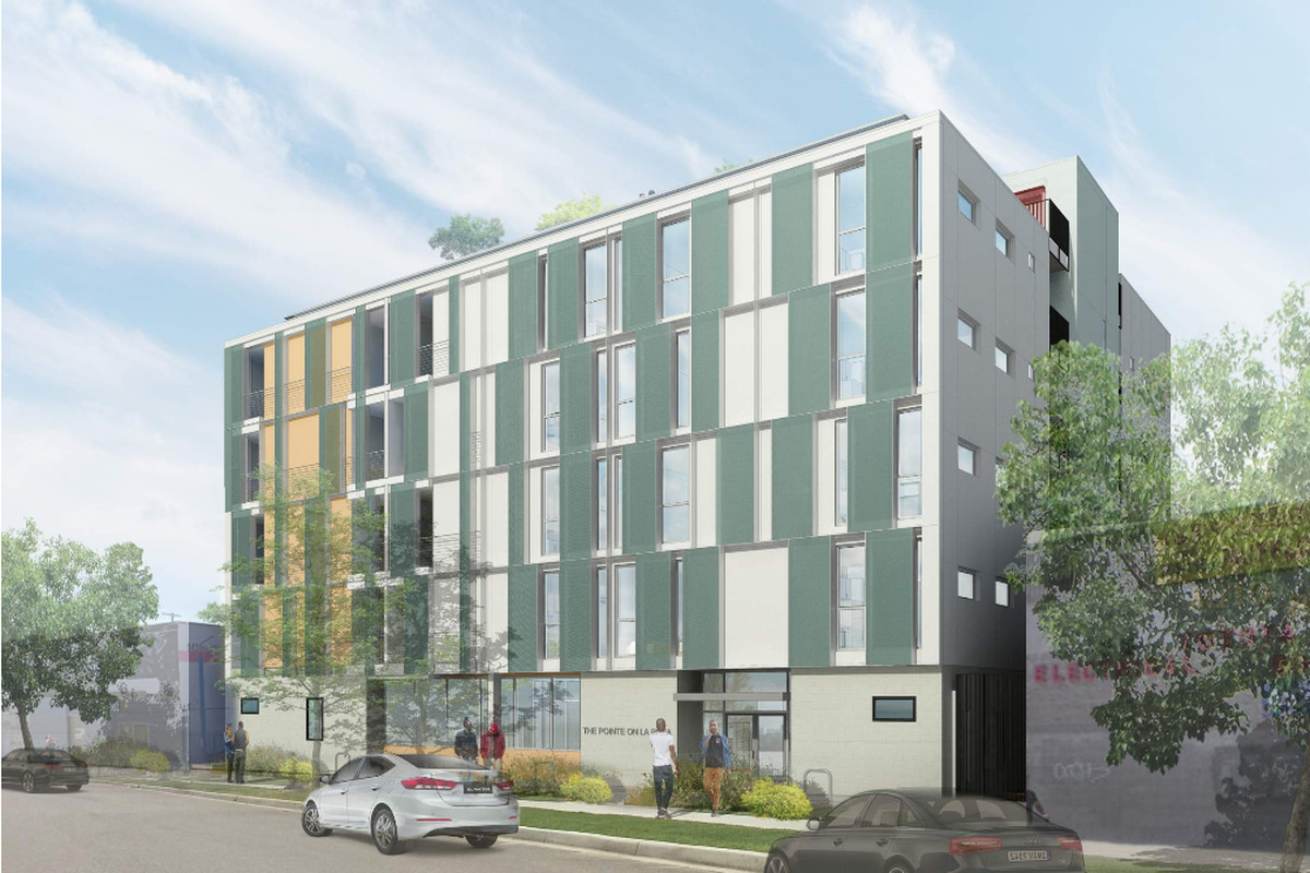 A rendering of a five-story building with a ground-level entrance.