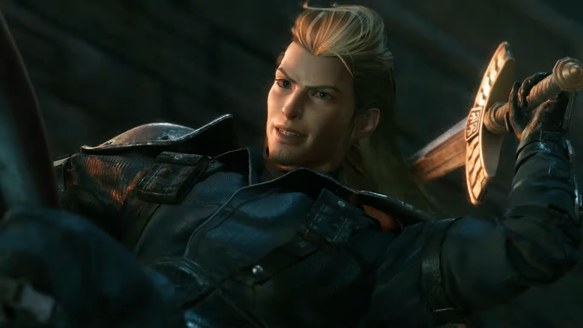 An unfamiliar blonde man with a mullet unsheaths a SOLDIER sword in the Final Fantasy 7 Remake trailer.