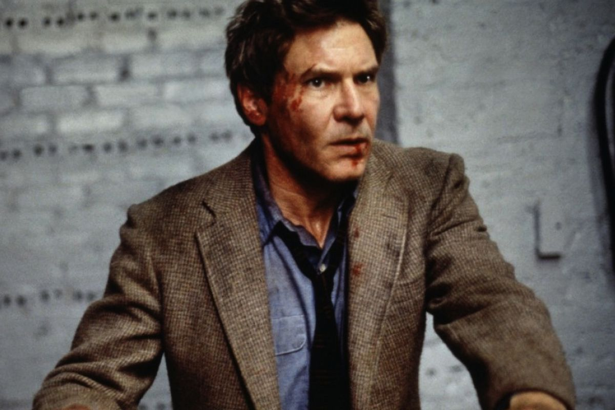 Harrison Ford with blood on his face in 'The Fugitive'