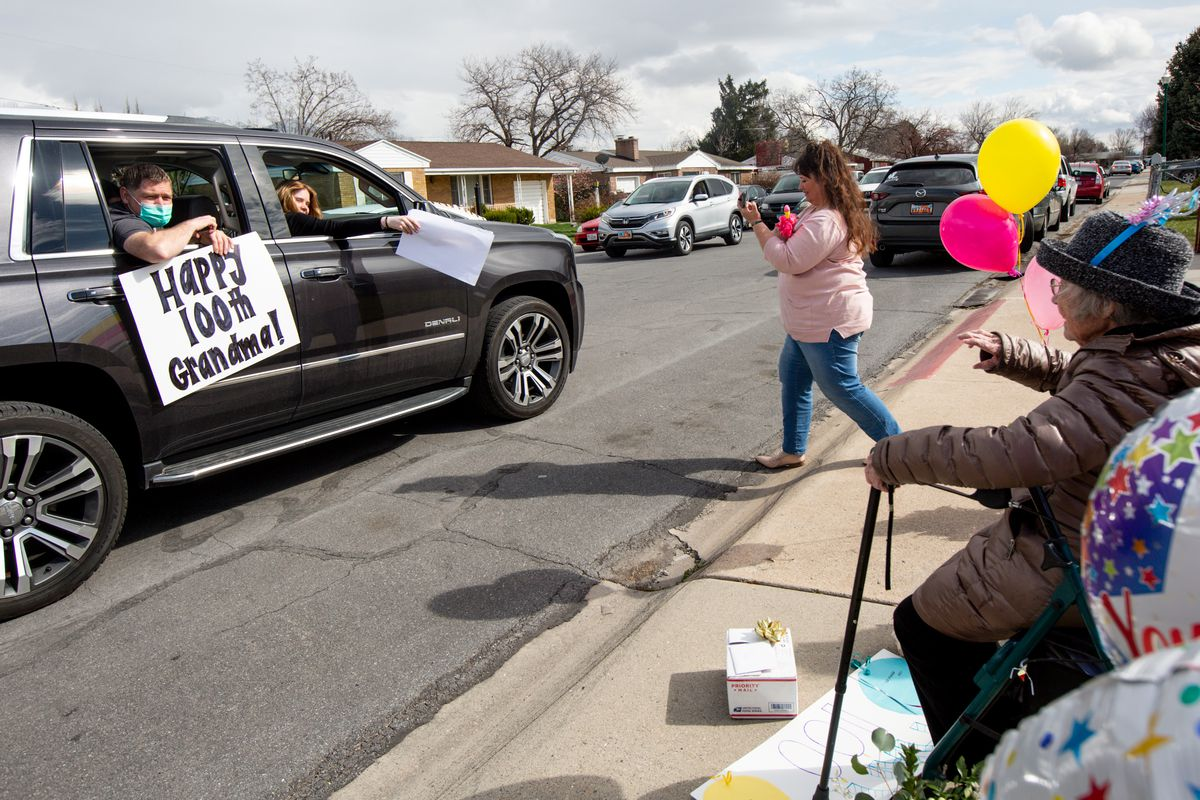 """Friends and family surprise Nada Stevenson with a drive-by parade in front of her Orem home to celebrate her 100th birthday on Saturday, March 28, 2020. """"I thought nobody can come 'cause of the quarantine, but they found a way to do it. It was very interesting,"""" Stevenson said. """"I'm very blessed with my family."""""""
