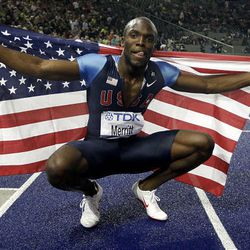 LaShawn Merritt of the United States celebrates after winning gold in the Men's 400m  during the World Athletics Championships in Berlin on Friday.
