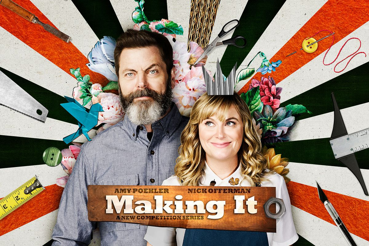 """Nick Offerman and Amy Poehler, the hosts of """"Making It"""""""