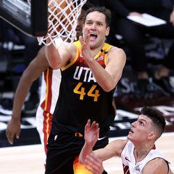 Utah Jazz forward Bojan Bogdanovic (44) lays up a shot as the Utah Jazz and the Miami Heat play an NBA basketball game at Vivint Smart Home Arena in Salt Lake City on Saturday, Feb. 13, 2021.