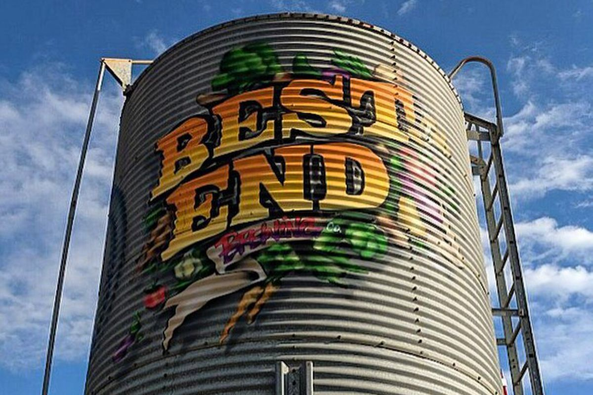 Best End Brewing logo on the water tower at Lee and White in West End