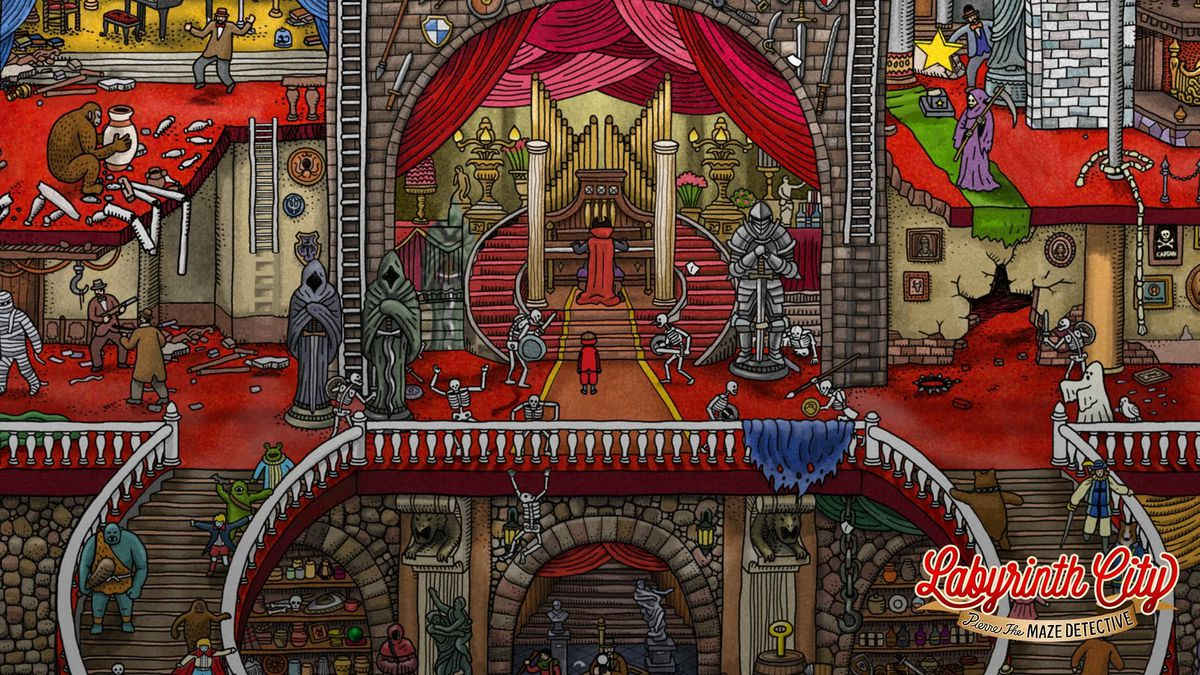 inside a castle with a crowded scene full of strange things