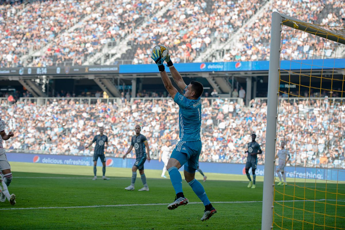 September 15, 2019 - Saint Paul, Minnesota, United States - Vito Mannone makes a save during an MLS match between Minnesota United and Real Salt Lake at Allianz Field