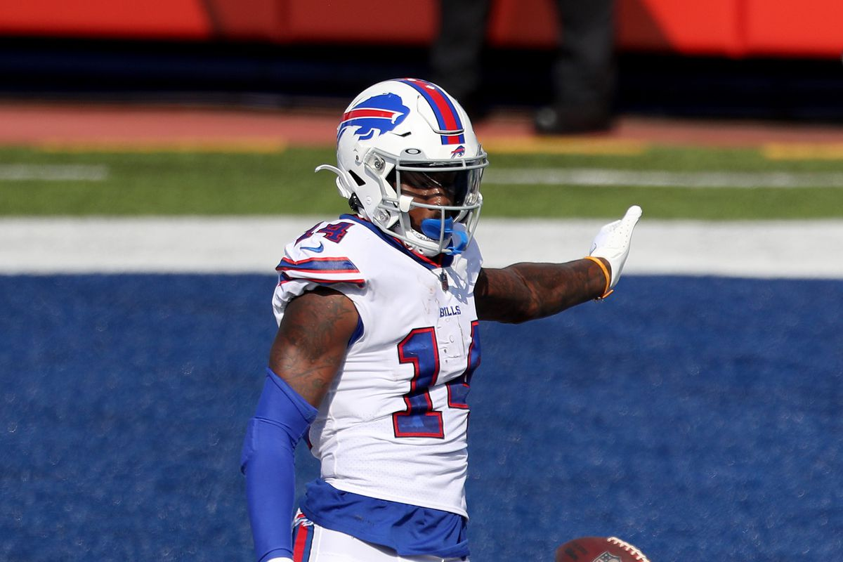 Stefon Diggs of the Buffalo Bills punts the ball after scoring a touchdown during the third quarter against the Los Angeles Rams at Bills Stadium on September 27, 2020 in Orchard Park, New York.
