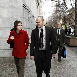 Tim DeChristopher leaves court following a guilty verdict on two federal charges, in Salt Lake City on Thursday, March 3, 2011.