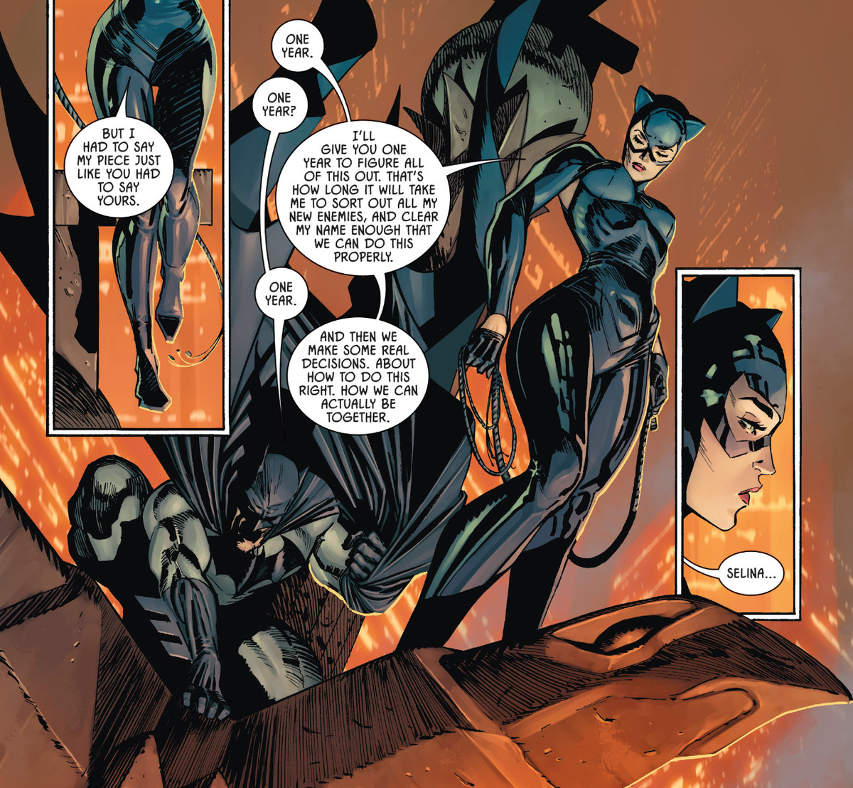Catwoman explains her plan to separate from Batman for a year so they can work out their own lives, in Batman #101, DC Comics (2020).