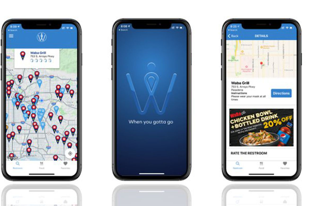 Three phones showing a map of restroom locations, the Whizz stylized W logo, and an offer for a discounted meal at Waba Grill.