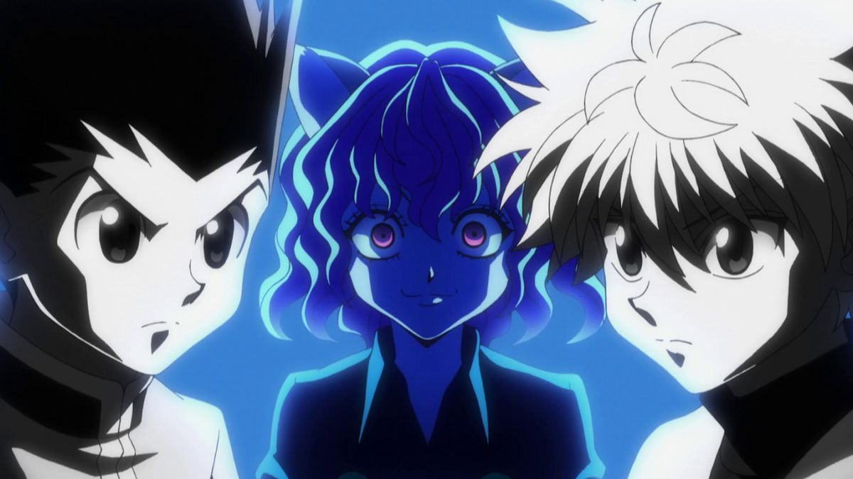 gon and killua looking determined, with neferpitou looming behind them