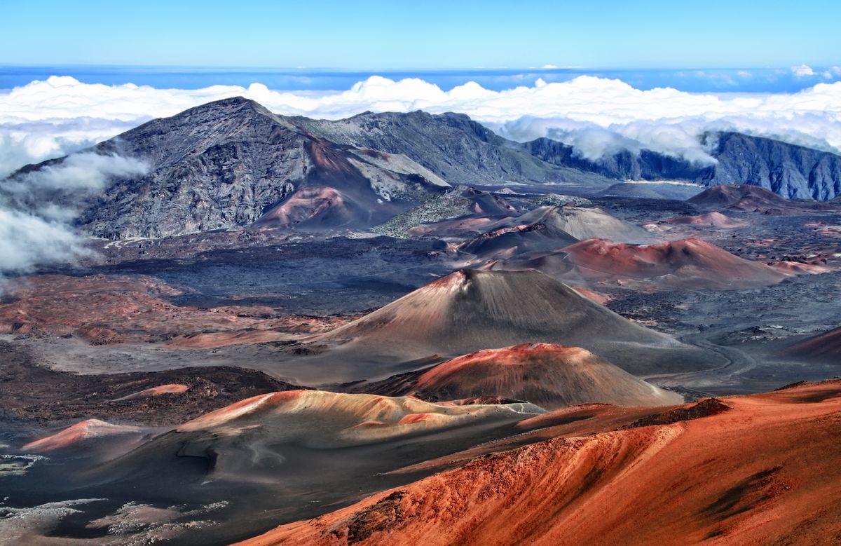 Caldera of the Haleakala volcano in Hawaii Volcanoes National Park.
