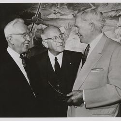 """Joseph Fielding Smith, Cecil B. DeMille, and David O. McKay at the preview screening of """"The Ten Commandments"""" at the Centre Theatre in Salt Lake City, Utah. The event was termed a """"sneak preview"""" and occurred on Aug. 2, 1956, more than a month prior to the film's national release on Oct. 5."""