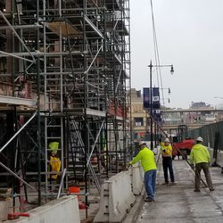 Work ongoing below the scaffolding on the Addison side