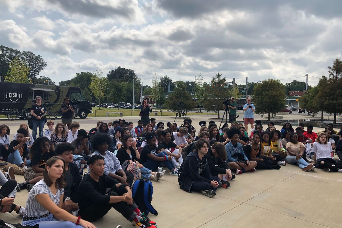 About 80 students at a Memphis high school left their classrooms Friday morning to protest changes at the school.