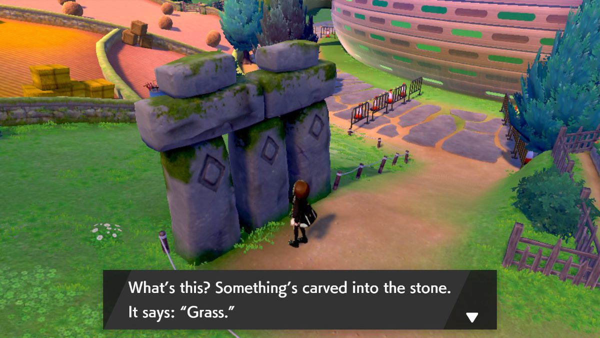 Grass standing stone in Pokémon Sword and Shield
