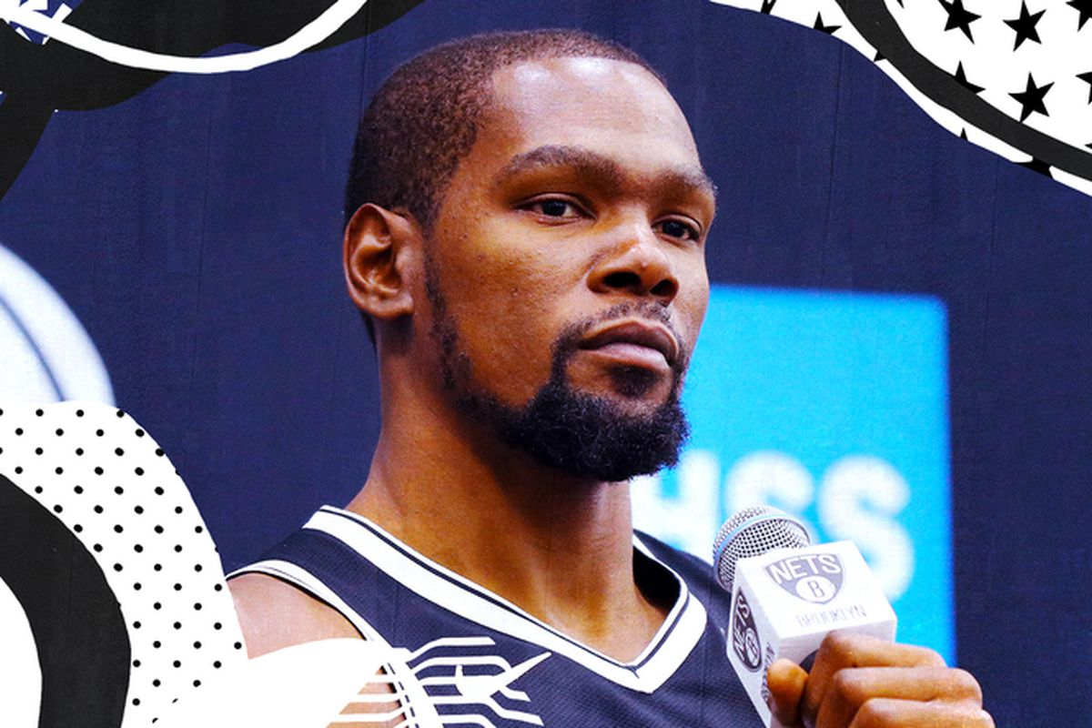 Kevin Durant at his Nets media day press conference.