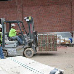 2:35 p.m. Bricks being moved, along Sheffield -
