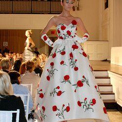 Ivory silk gazar red carnation applique embroidered gown on Liu Wen.